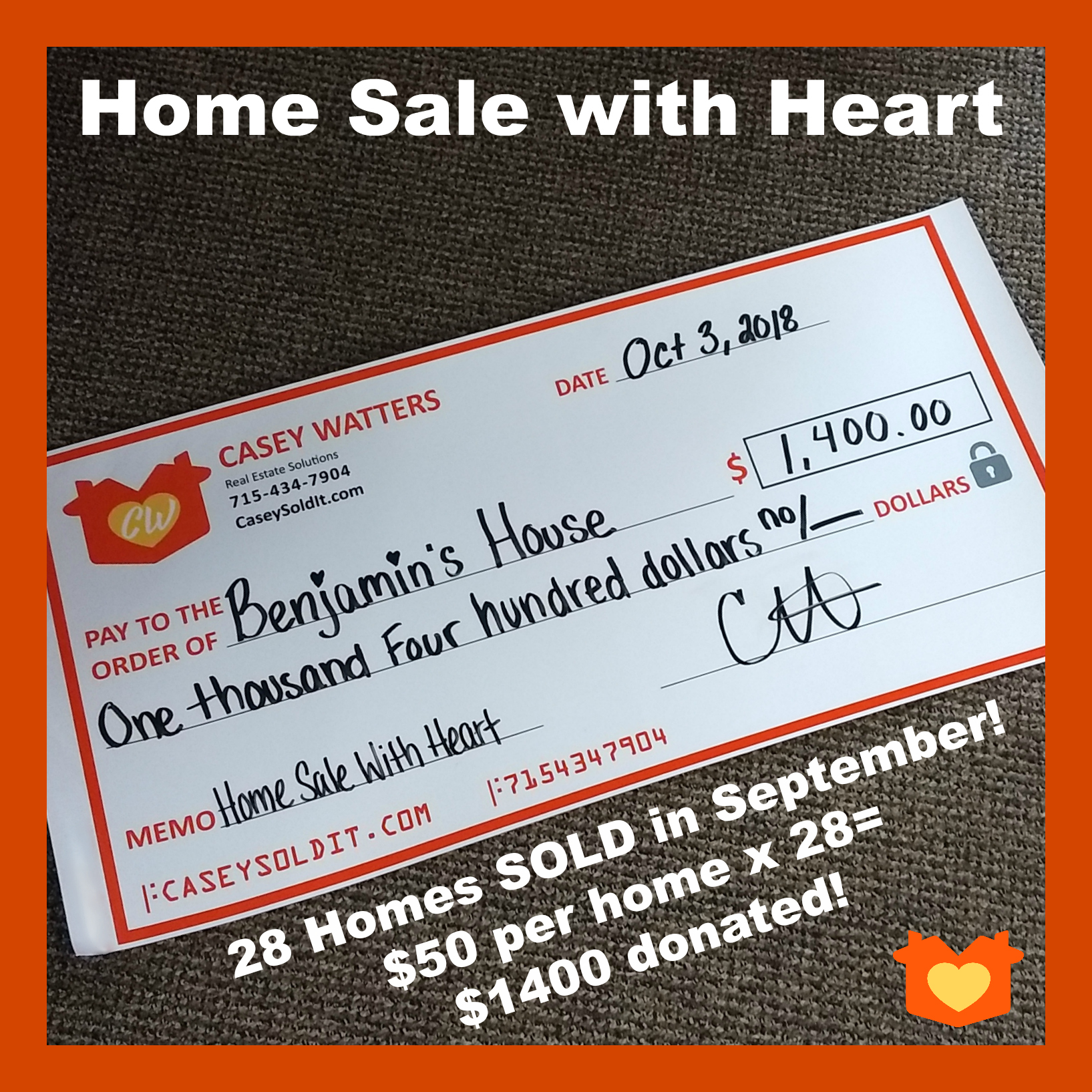 Casey Watters Home Sale with Heart Program