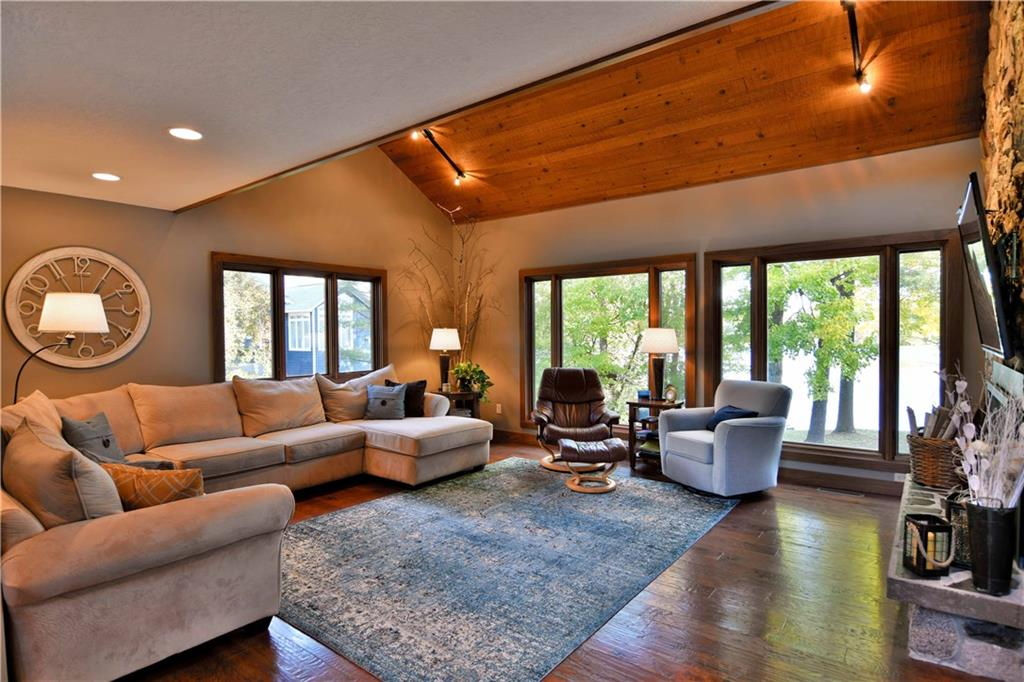 Living room overlooking Rice Lake waterfront